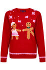 Heart And Soul Womens Dancing Gingerbread Christmas Jumper 3D Festive Sweater