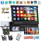 """Single 1 Din 7"""" Flip Stereo Car Radio Player Touch Screen BT USB TF AUX + Camera"""