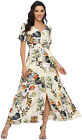 VintageClothing Women's Floral Maxi Dresses Boho Button Up Split Beach Party Dre