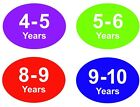 Coloured Baby  Childrens Clothes Size Stickers - Sticky Labels - 4 - 5 Years