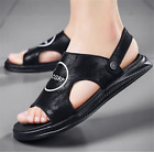Men Soft Dual-use Leather Sandals Summer Shoes Non-Slip Casual Outdoor Slippers