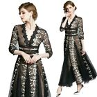 Occident Women V-Neck Lace Embroidery Long Dress Big Hemline Holiday Prom Gown L
