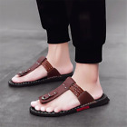Men Casual Leather Flip Flops Sandals Summer Outdoor Flat Luxury Slippers Shoes