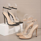 Women Slim High Heel Sandals Transparent PVC Ankle Buckle Ladies Party Stilettos