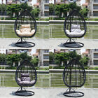 CGC Black Oval Egg Chair Poly Rattan Large Swing Handle Cushion Anthracite Hang