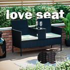 Rattan Garden Furniture 2 Seater Love Seat Bench Twin Chair Glass Table Patio