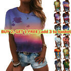 Womens Casual Baggy Round Neck Short Sleeve T-Shirt 3D Printed Summer Loose Tops