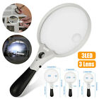 25X Magnifying Glass Handheld Magnifier 3 LED Light Reading Lens Jewelry Loupe