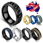 Titanium Stainless Steel 8mm Spinner Ring Curb Chain Band Men Women Size 6-13
