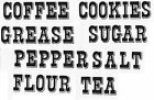 Ceramic Decals Cannister Labels  Tea Coffee Sugar Flour Graphic image