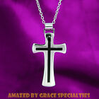 Large Mens Black Inlay Stainless Steel Cross Necklace