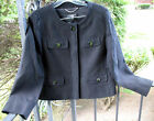 Talbots Black Cotton Jewel Neck Jacket Blazer 10 Petite &...