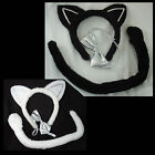 CAT SET #4 White or Black - Tail, Ears & Bow Tie