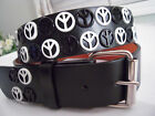 New Black & White Peace Signs Studded Leather Belt