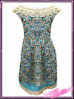 Ladies Plus Size Blue Floral Dress with Lace Neckline