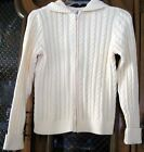 LE Ivory CableKnit ZipFront Cotton Cardigan Sweater M L