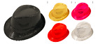FANCY DRESS GANGSTER HAT TRILBY SEQUIN COVERED 8COLOURS