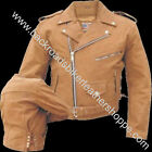 MENS BROWN BUFFALO LEATHER BIKER MOTORCYCLE JACKET