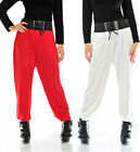 Womens Elasticated Belted Tie Harems Harem Trousers Pants Ladies Brand New