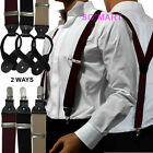 Mens Braces Elastic 2 Ways 3 clips on or 6 buttons Black Suspenders Y Shape