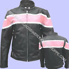 LADIES WOMENS BLACK LEATHER MOTORCYCLE BIKER JACKET W/PINK STRIPE SIZES XS-3X