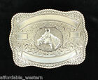 Square CRUMRINE ~ WESTERN BELT BUCKLE ~ Bullrider Team-Roper Silver Gold Ribbon