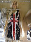 LADIES BLACK UNION JACK ST GEORGE'S CROSS ENGLAND FLAG FANCY DRESS PARTY COSTUME