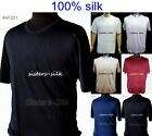 MENS 100% SILK KNITTED T SHIRT CASUAL TOPS CREW NECK TEE SIZE M - XXL