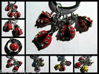 RED CUTE LADYBIRD LADYBUG INSECT 4 PIECE KEYRING HANDBAG CHARM DIAMONTE GIFT UK