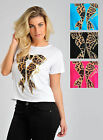 Womens Animal Print Bow T-Shirt Top in Blue Pink White Black Ladies Women's New
