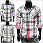 (CHS6) THELEES Mens Casual Stylish Long Sleeve Stripe Patch Checker Shirts