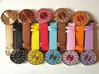 LADIES LARGE FACE BRIGHT COLOURS FASHION STYLISH LEATHER WATCH CLASSIC RETRO