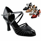 "Women's Salsa Ballroom Tango Satin Leather Dance Shoes 2.5"" / 3"" Very Fine 2717"