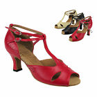"Women's Ballroom Salsa Tango Black Beige Red Dance Shoes 2.5/3"" Very Fine S2803"