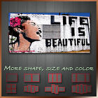 Life is Beautiful Banksy Canvas Art More Color & Style & Size