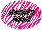 Zebra Print Pink | Black Personalised Bedroom Door Sign | Plaque | Plate