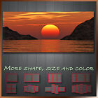 ' Stuning Red Sunset Sea ' Landscape Modern Abstract Wall Art Framed Canvas Box
