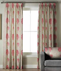 *CLEARANCE* MOZART LUXURY HEAVY WEIGHT FLORAL LINED TAPE TOP CURTAINS PINK