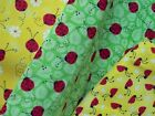 KOOL BEETLES LADYBUGS !! 100% Cotton fabric red BUGS on floral leaf backgrounds