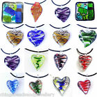 Lamp Work Glass Heart Square Leaf Pendant All Colours