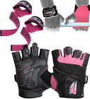 Auth RDX Pro Lift Gel Weight lifting body building gloves Gym Straps Bar Leather