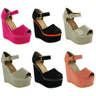 New Ladies Peep Toe Wedge Strappy Gorgeous Platform Sandals Sizes UK 3 4 5 6 7 8