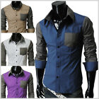 (KST) THELEES NWT Mens casual 2 tone slim fit pocket Fashionable dress shirts