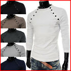 (VT07) THELEES Mens Casual Long Sleeve Button Point Round neck Tshirts