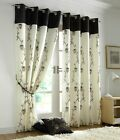 Chocolate Eyelet Curtains Lined Voile Tahiti FREE P&P