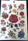 1 x SHEET GIRLS LADIES TEMPORARY TATTOOS COLOURFUL BLACK FLOWERS ROSES HEARTS UK