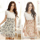 Summer Women Female Patchwork Floral Print Tunic Casual Chiffon Mini Dress Pink