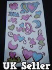1 SHEET LADIES GIRLS TEMPORARY TATTOOS GLITTER STYLE BLING PINK HEARTS LOVE UK