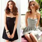 Sexy Womens Ribbon Backless Strapless Mini Dress Lace-up Allover Flowers Party