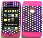 Purple Dots on Pink Skin Apple iPhone 4 4S Hybrid 2 in 1 Hard Cover Rubber Case